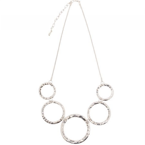 Short Necklace with Large Hammered Circles